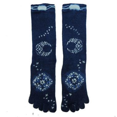 トシュカ 藍染ヘンプコットン5本指靴下
